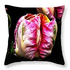 """Salmon Parrot Tulip Throw Pillow 14"""" x 14"""""""