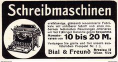 Original-Werbung/ Anzeige 1908 - SCHREIBMASCHINEN / BIAL & FREUND BRESLAU - Ca. 80 X 45 Mm - Werbung