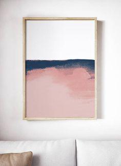 Blush Pink and Blue Print. Minimal Pink Watercolor Art.