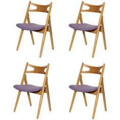 Hans Wegner Oak Sawbuck Dining Chairs Set of 4 $4800 @ Baxter & Liebchen, NYC, 212 431 5050 or info@baxterliebchen.com