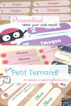 Review of Petit Fernand labels for school supplies and more!