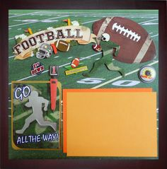 FOOTBALL GAME DAY Premade Memory Album Page (Gallery Wood Frame Sold Separately) by theshadowbox on Etsy