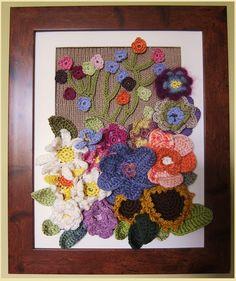 Framed Crochet flower bouquet ~ Flores enmarcadas   Lorena: … un sonido retro…