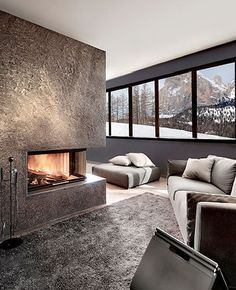 contemporary corner fireplace