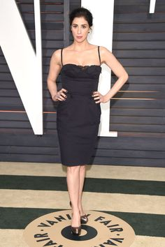 Sarah Silverman attends 2015 Vanity Fair Oscar Party hosted by Graydon Carter at Wallis Annenberg Center for the Performing Arts on Feb. 22, 2015, in Beverly Hills, California.