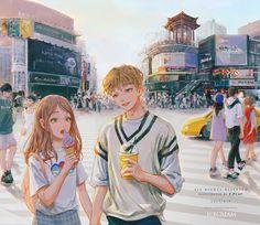 Cute Couple Drawings, Cute Couple Art, Anime Couples Drawings, Anime Love Couple, Couple Cartoon, Anime Couples Manga, Manga Anime, Romantic Anime Couples, Cute Anime Coupes