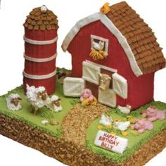 Old Mac Donald would be proud to be the owner of this Little Red Barn Cake. Use our Stand-Up House Pan to create the little red barn. The sheet cake barnyard is well-stocked with an assortment animals and the silo is stacked to the rooftop with cookies!