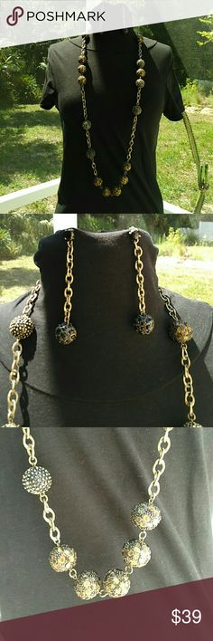 SET NECKLACE  RI long gold / brass and black Gorgeous xtra long necklace and earring set Medium weight Can double up necklace A brass type finish Sherri Souza Boutique & Jewelry Jewelry Earrings