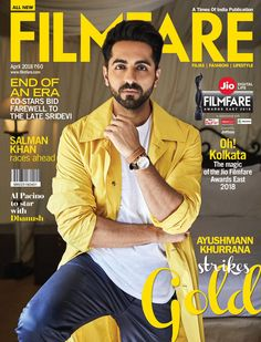 - The quirky and content-driven cinema king, actor nd singer Ayushmann Khurrana is looking dapper nd stylish on the latest cover spread of Filmfare magazine Bollywood Stars, Bollywood Fashion, Bollywood Celebrities, Glamour World, Magazine Cover Design, Magazine Covers, Latest Bollywood Movies, Latest Trending News, Indian Star