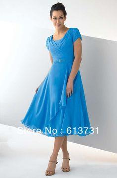 2013 Hot venta por encargo azul de la gasa de manga corta vestido de dama de longitud de té B01068