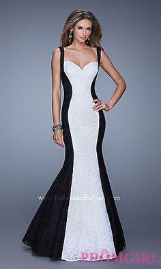Floor Length Sleeveless Lace La Femme Dress at PromGirl.com