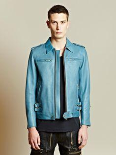 Blackmeans Men's Multiple Zip Pocket Leather Jacket   LN-CC