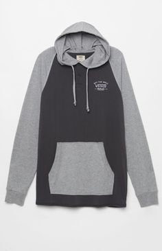 Relston Hooded Charcoal Long Sleeve Henley T-Shirt