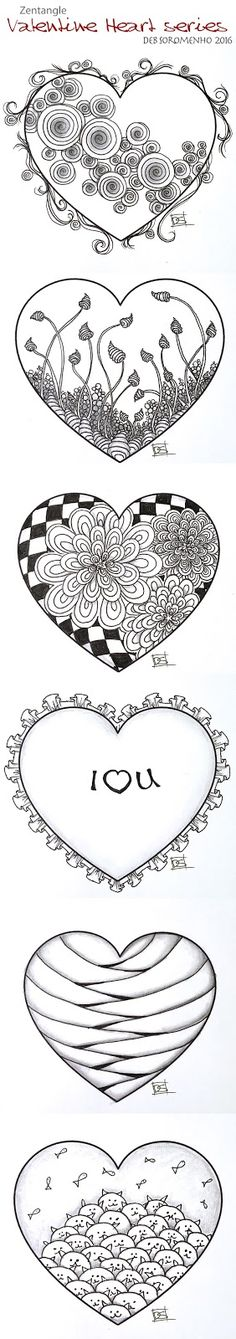 ❤⊰❁⊱ Mandala⊰❁⊱ Zentangle Valentine's Heart Series Designs 2016 | Always Choose…