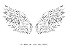 Find Artistic Drawn Black Outlined Polygonal Wings stock images in HD and millions of other royalty-free stock photos, illustrations and vectors in the Shutterstock collection. Geometric Drawing, Geometric Shapes, Geometric Tattoo Outline, Cadre Design, Wing Tattoo Designs, Polygon Art, Wings Design, Diy Arts And Crafts, Back Tattoo