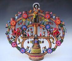 """Mexican Puebla Day of Dead Tree of Life ceramic candelabra by CASTILLO 17 1/2"""""""