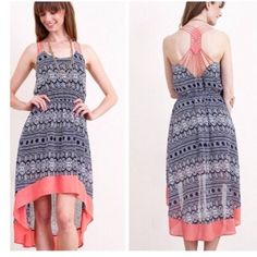 Strap Back Hi Lo Maxi Dress features hi lo design with strappy back.  Lowest prices are listed upfront. Dresses