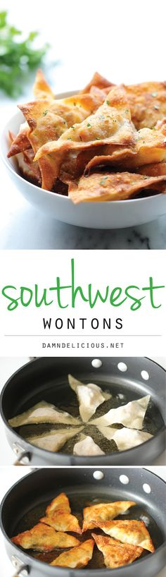 Southwest Wontons - Crispy wontons loaded with southwest, cheesy goodness. And you won't believe how easy this is to whip up! Tapas, Appetizer Recipes, Appetizers, Queso Cheddar, Good Food, Yummy Food, Brunch, Mexican Food Recipes, Food And Drink