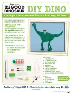 Create your very own Arlo dinosaur from recycled items! - 0 points