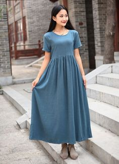 Linen dress Summer Maxi dress Casual loose Kaftan Party Dress Extravagant Daywear Dress Custom-made Plus size tunic dresses Large size dress