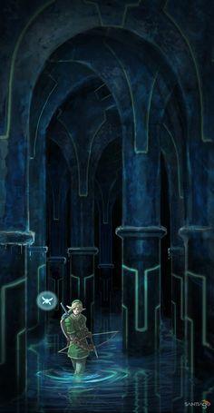 The Legend of Zelda: Ocarina of Time. Water Temple by Pertheseus. deviantart.com