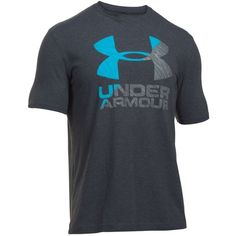 Under Armour Anthracitegraphitemalibu Logo Split Tee ($25) ❤ liked on Polyvore featuring men's fashion, men's clothing, men's shirts, men's t-shirts, mens short sleeve shirts, under armour mens shirts, mens crew neck t shirts, mens pullover shirts and mens short sleeve t shirts