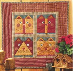 Kitty cat quilt wall hanging.