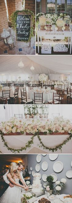 Reception Decor: Look and Feel        I like the look and feel of this wedding. The garland on the chalkboard is great! I have a chalkboard similar in size I would like to use.