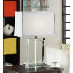 Crystal Rectangular Table Lamp with Grey Shade