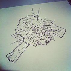 by Marita Butcher-I don't think I would get a gun tattoo but its really pretty   best stuff