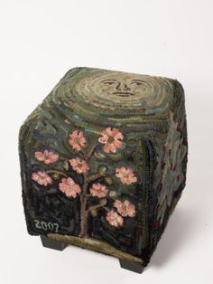 """Seasons"" stool hand hooked by Barb Bauman.  The summer and fall sides are just as wonderful."