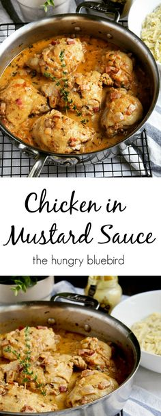 Chicken in Mustard Sauce Classic French cuisine, all in one pan. Sauce Recipes, Chicken Recipes, Cooking Recipes, Healthy Recipes, Chicken Meals, Chicken Pasta, Yummy Recipes, Chicken In Mustard Sauce Recipe, Salsa Francesa