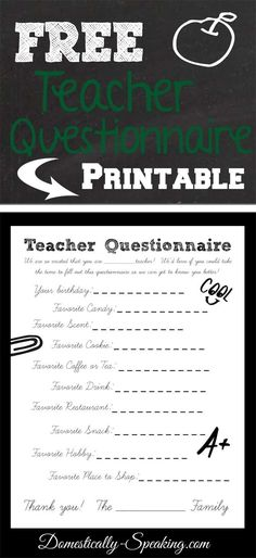 Teacher Questionnaire ~ Makes gifts for your teacher SO easy!