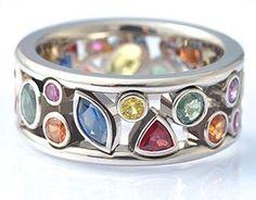 """Firework ring 18k White gold, Sapphires."" © Eva Martin Jewelry (quote) evamartin.com"