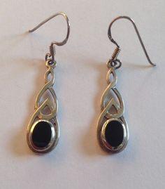 Sterling Silver 925 Black Stone Onyx? Drop Earrings  | eBay