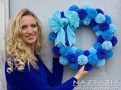 DIY Free Pattern and YouTube Video Tutorial Easy Pom Pom Wreath (Yarn Pompoms) by Donna Wolfe from Naztazia
