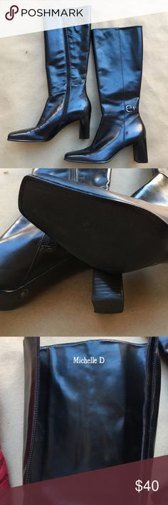 Like brand new Michelle D y'all leather boots 7.5M Like brand new! 👢Michelle D leather boots. Inner zip. Size 7.5M. Black leather Upper. Simple and classic buckle detail on outer. Leather does have creasing but remains in great shape. Inner lining and soles also great shape. Almost to knee high. Does have elastic slit on inner top for best fit. Michelle D Shoes Heeled Boots