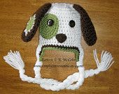 Patchy Puppy Hat Pattern - Crochet Pattern Number 18 - Beanie and Earflap Pattern (US or UK Terms) - Newborn to Adult Sizes Included
