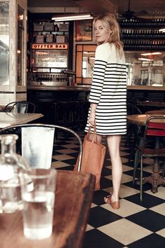 Le Fashion Blog Madewell Sezane Lookbook Camille Rowe Striped Dress Leather Tote Lace Up Sandals photo by lefashion