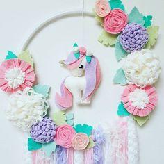 🌈Unicorn Dream Catcher🌈 A recent order 💖 . . . . #unicorns #felt #felties #pastel #plush #iloveunicorns #feltflowers #sparkles #girlsdecor #girlsroomdecor #unicorn #australianhandmade #handmadeisbest #mumswithhustle #dreamcatchers #pretty #etsy #etsyshop #etsysellers #plushies