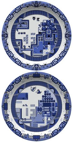 Geeky video game dinnerware based on the Blue Willow china pattern – by designer Olly Moss. 8 Bit, Pixel Art, Olly Moss, Blue Willow China, 8bit Art, Willow Pattern, Zelda, Retro Videos, Nintendo Characters