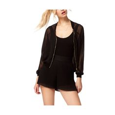 Black Mesh Long Sleeve Bomber Jacket JA0150027 ($18) ❤ liked on Polyvore featuring outerwear, jackets, black, sheer bomber jacket, mesh bomber jacket, blouson jacket, sheer jacket and flight jacket