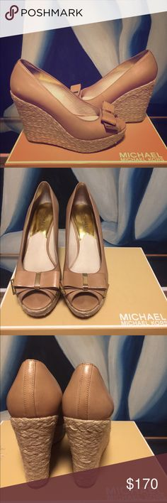 Michael Tors Tan Leather Bow Tie Espadrilles Practically New with original box. These are very comfortable and go with everything. Michael Kors Shoes Espadrilles