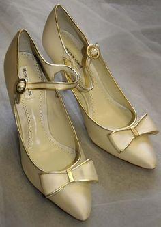 Benjamin Adams Wedding Shoes UK 6 Mae Ivory / Gold Silk RRP £149