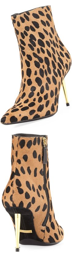 Tom Ford Leopard-Print Goat Hair Bootie (tapered golden heel with ring detail and pointed toe and side zip)