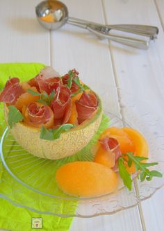 Cesti di prosciutto e melone