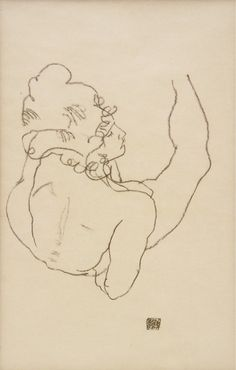 Egon Schiele - Reclining Nude Leaning on Her Right Arm, Back View, , 1917