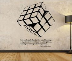 Rubik's Cube wall Decal WITH QUOTE vinyl Sticker Art Decor Bedroom Design Mural interior design Science Education Art educational