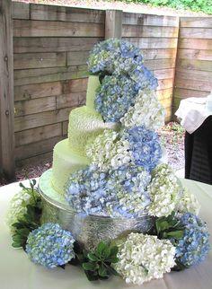 Hydrangea Wedding Cake  @Donna Moczydlowski