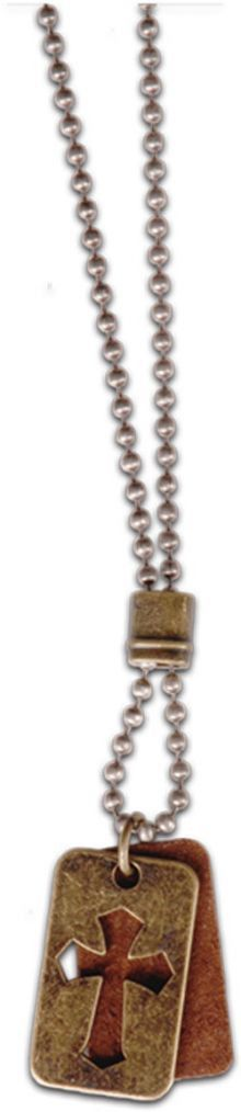 Christian Necklace -Leather Brass Dogtag